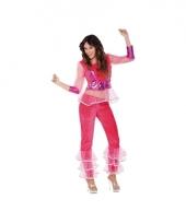 Popster disco kostuum roze voor dames