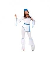 Popster disco kostuum wit voor dames