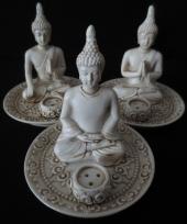 Porseleinen boeddha wierookhouder set 3 stuks