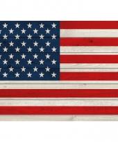 Poster van de amerikaanse vlag op hout 84 cm