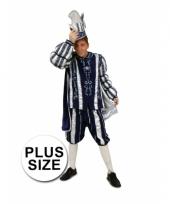 Prins carnaval pak blauw wit grote maten