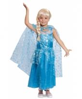 Prinsessen jurk met cape blauw voor meisjes