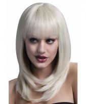 Professionele damespruiken blond halflang haar