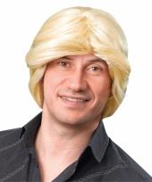 Pruik heren blond halflang haar