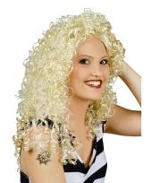Pruik met lang blond haar en krullen