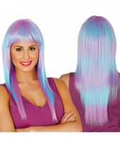 Pruik met pony voor dames in paars blauw