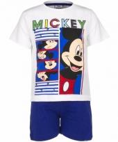 Pyjama met blauwe korte broek mickey mouse