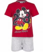 Pyjama met grijze korte broek mickey mouse