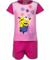 Pyjama met korte broek minions bloemen