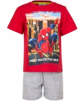Pyjama met korte broek spiderman rood