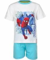 Pyjama met korte broek spiderman wit