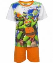 Pyjama met oranje korte broek ninja turtles