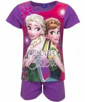 Pyjama met paarse korte broek frozen