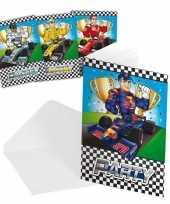 Race formule 1 kinderfeestje uitnodigingen 8 stuks