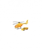 Reddingsbrigade speelset gele helikopter en auto