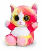 Regenboog kat kitten knuffeldier pluche 15cm