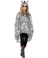 Regenponcho met zebraprint