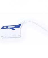 Reiskoffer label wit blauw 9 5 cm