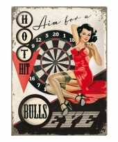 Retro muurplaatje bulls eye 30 x 40 cm