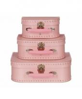 Retro poppenkoffertje roze 16 cm