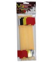 Rietjes geel met belgische vlag 12 stuks