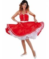 Rock en roll jurk rood met wit