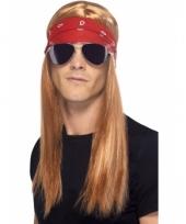 Rocker pruik met bril en bandana