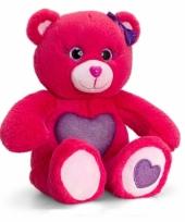 Rode beer met paars hart zittend 25 cm