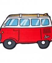 Rode camper busjes handdoek 150 x 110 cm