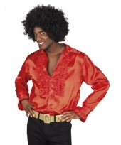 Rode disco blouse voor heren