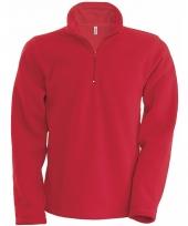 Rode fleece trui voor heren met ritskraag