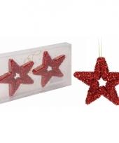 Rode glitter ster kerstboom hangers 13 cm