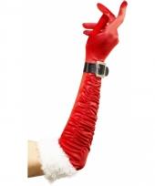 Rode handschoenen met wit bont
