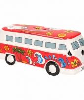 Rode hippiebus spaarpot porselein
