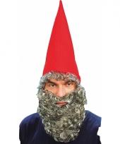 Rode kaboutermuts met baard