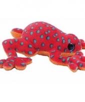Rode kikker met blauwe stippen knuffeldier 15 cm
