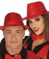 Rode pailletten hoedje voor volwassenen
