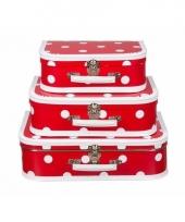 Rode speelgoed koffer met witte stippen 25 cm 10085951