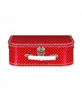 Rode speelgoed koffer met witte stippen 25 cm