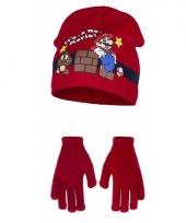 Rode super mario muts en handschoenen