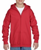 Rode sweatshirt met rits voor jongens