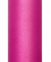 Rolletje tule stof fuchsia roze 50 cm breed