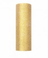 Rolletje tule stof goud met glitters 15 cm