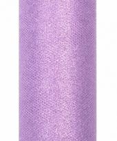 Rolletje tule stof paars met glitters 15 cm