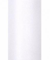 Rolletje tule stof wit met glitters 15 cm