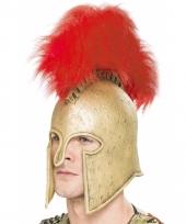 Romeinse helm met rode veren