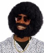 Ronde afro pruik baard en snor