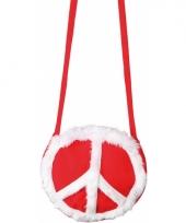 Ronde hippie tas met peace teken