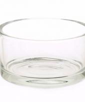 Ronde platte vaas 15 cm van helder glas