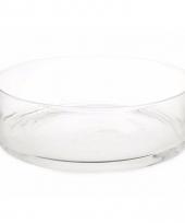 Ronde platte vaas 37 cm van helder glas
